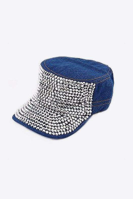 Blue rhinestone baseball cap, blue denim baseball cap, rhinestone baseball cap, rhinestone baseball hat, denim baseball hat