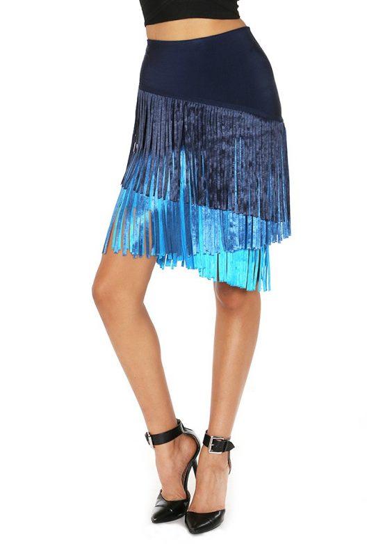 Navy and Aqua Fringe Skirt Side View