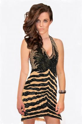 Black Beaded Dress with Nude Lining by Wow Couture
