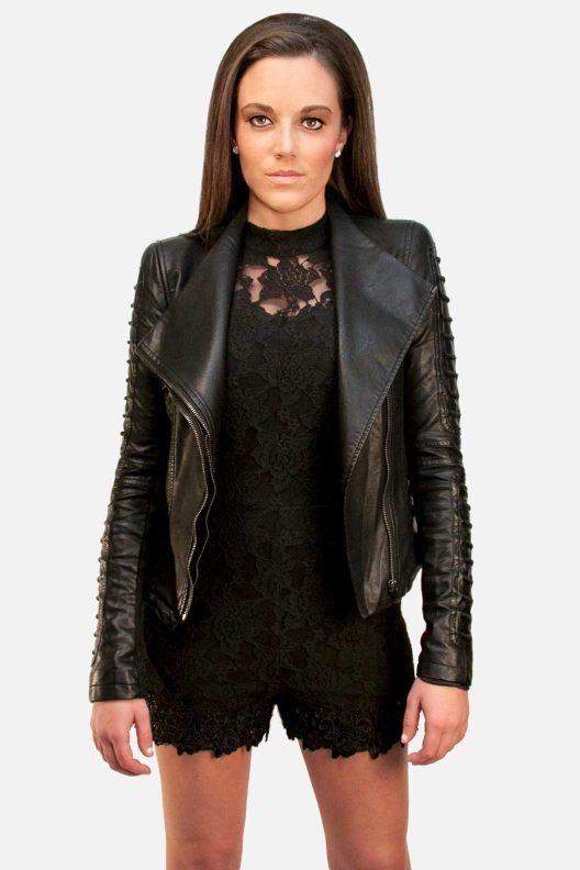 Hommage romper, Gracia black leather jacket