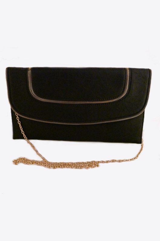 Black leather clutch, black leather bag, Black zipper clutch