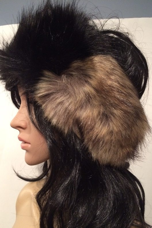 Black and Tan Faux Fur Head Warmer