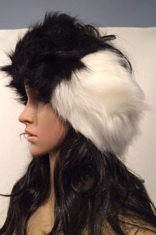 Black and White Faux Fur Head Warmer