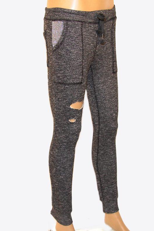 Charcoal Gray Sweatpants w Rhinestones