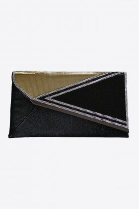 Black and Gold Crystal Clutch