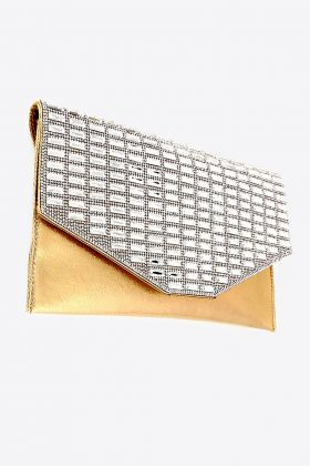 Gold Clutch, Gold Evening Bag, Gold with Rhinestones, Evening Bag, Clutch