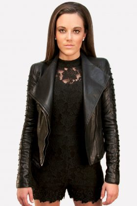Gracia, Black Leather Jacket Very Trendy by Gracia