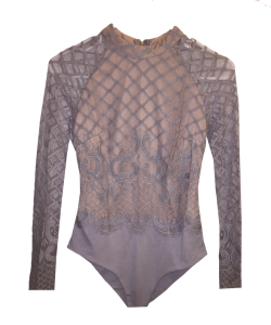 Gray-Champagne-Lace-Bodysuit