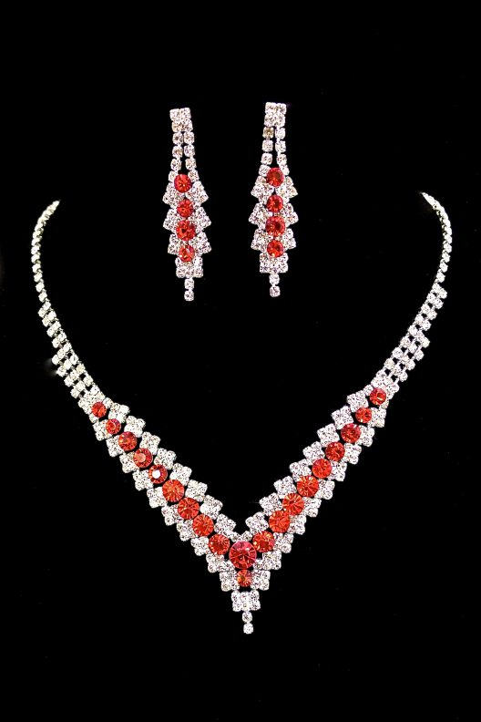 Red Crystal Silver Necklace w Earrings