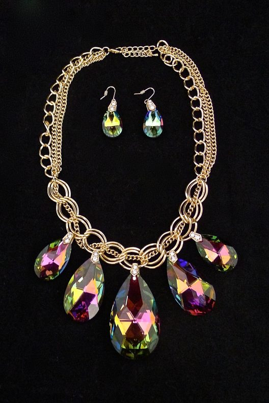 multicolored rhinestone pendant jewelry set
