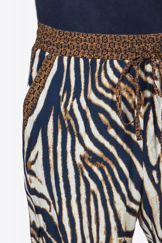 Navy and Camel Leopard Pants Close Up View