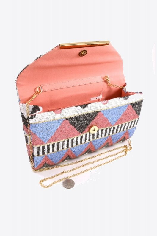 Pink & Blue Fashion Glitter Clutch Purse Inside