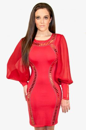 Red Bodycon Dress with Gold Studs