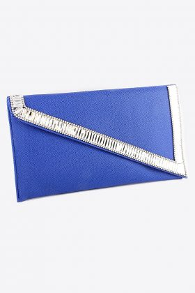 Royal Blue Clutch Purse with Rhinestones on the Diagonal Flap. Stunning Color, Super Fashionable, 12L x 6.75H x 1.25W with Silver Chain.