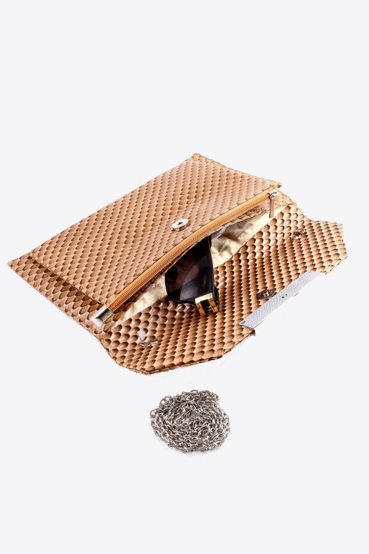 Snake Skin Faux Leather Clutch Open View