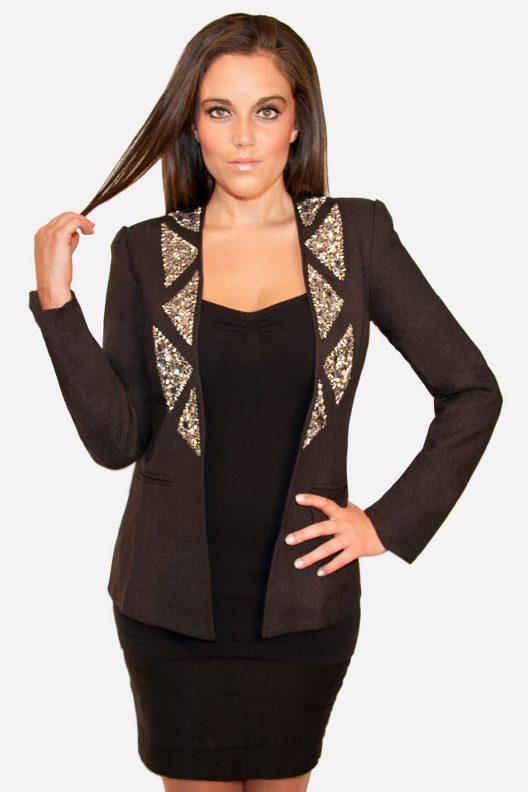 Hommage, Black Blazer with Crystal Collar, Hommage Blazer, Hommage images, Hommage Womens Clothing