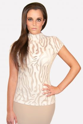 Gracia, Gracia Top with Beige Leather and Mesh, Gracia women's clothing, Gracia images