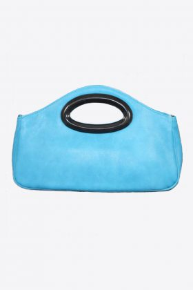 Turquoise Leather Clutch w Keyhole