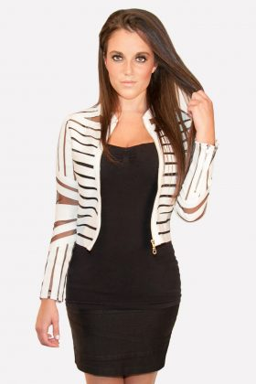 Gracia, Gracia Leather Blazer White with Mesh