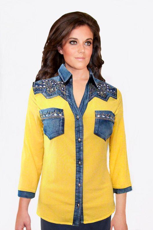 Yellow and Denim Western Shirt