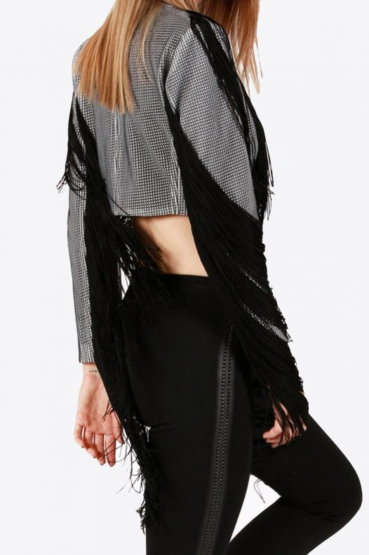 Black and White Checkered Fringe Jacket Back View