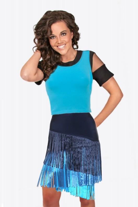 Navy and Aqua Fringe Skirt