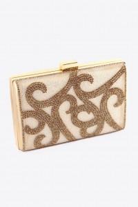 Gold Rhinestone Box Clutch