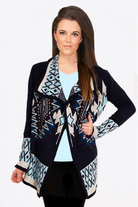 Blue Aztec Tribal Cardigan