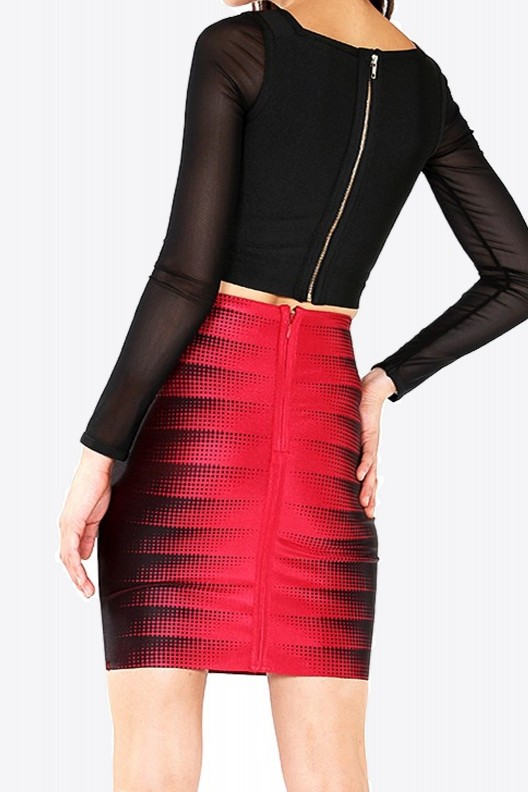 Red and Black Bandage Stretchy Skirt Back View