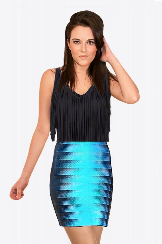 Aqua and Black Bandage Stretchy Skirt