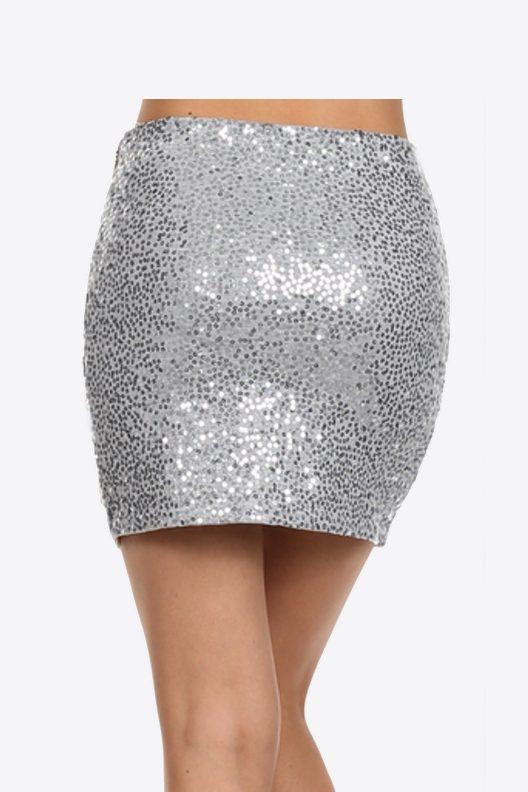 Sequin Mini Skirt White Black Silver - Back