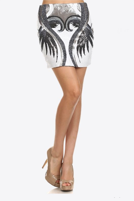 Sequin Mini Skirt White Black Silver