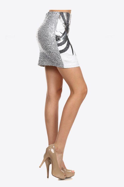 Sequin Mini Skirt White Black Silver - Side View