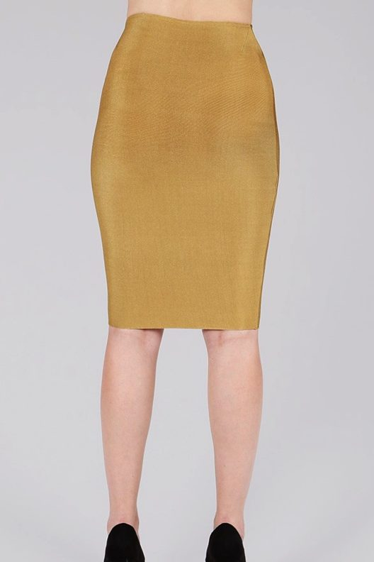 Gold Pencil Skirt Stretchy by Wow Couture back