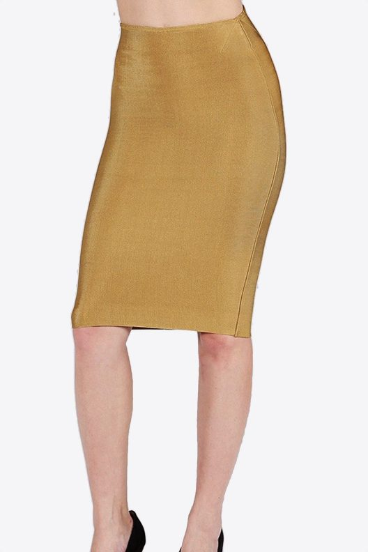 Wow Couture Gold Pencil Skirt Stretchy front