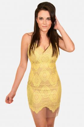 Yellow Lace Dress with Nude Lining, Luxxel, Luxxel images