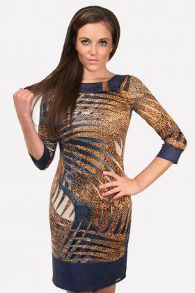 Animal Print Bodycon Dress Velvet Trim