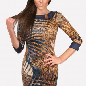 Animal Print Bodycon Dress Velvet Trim