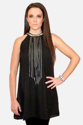 Black Chiffon Blouse Dress