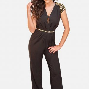 Black Jumpsuit with Gold Rhinestones
