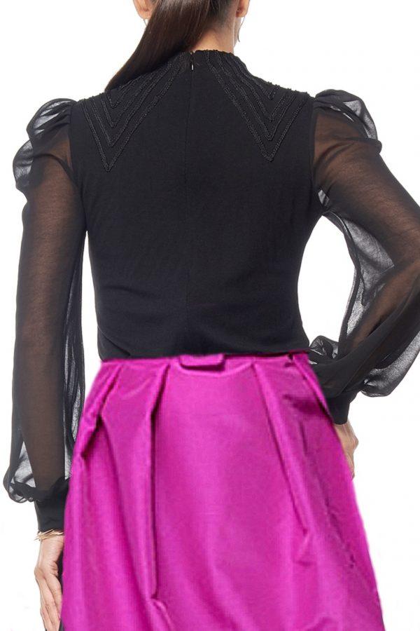 Gracia Black Ruffled Sheer Sleeve Top Back
