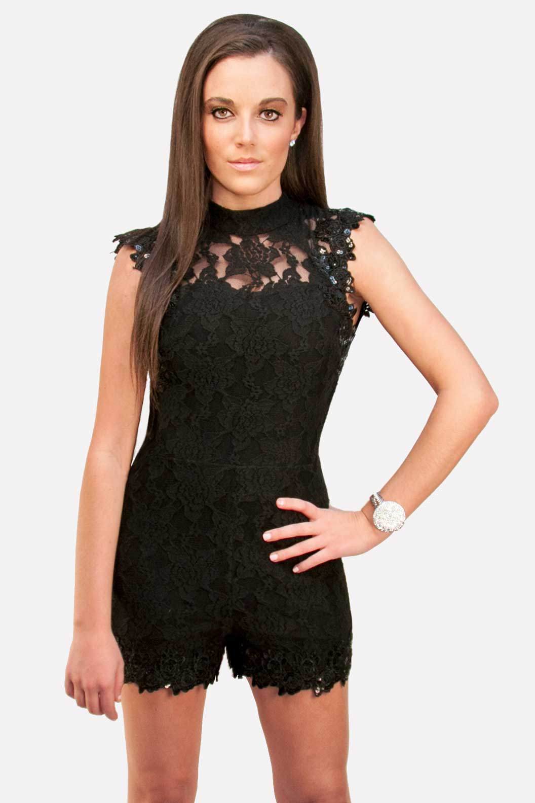 Hommage, Black Lace Short Romper, Jumpsuit