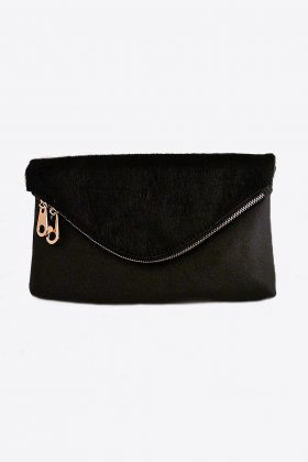 Black Leather, Animal Skin Clutch