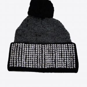 black snow hat with rhinestones, black snow hat