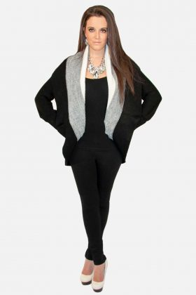 Black and White Cardigan Sweater