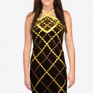 Black Halter Dress Yellow Gray Weaving