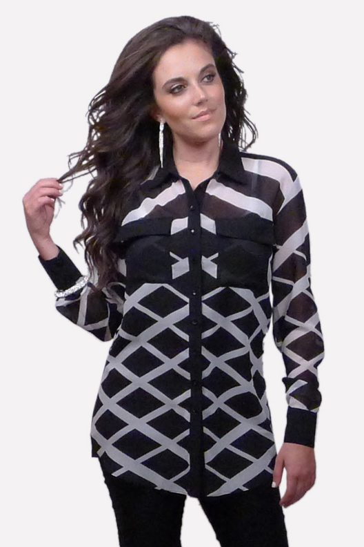 Black and White Collared Blouse