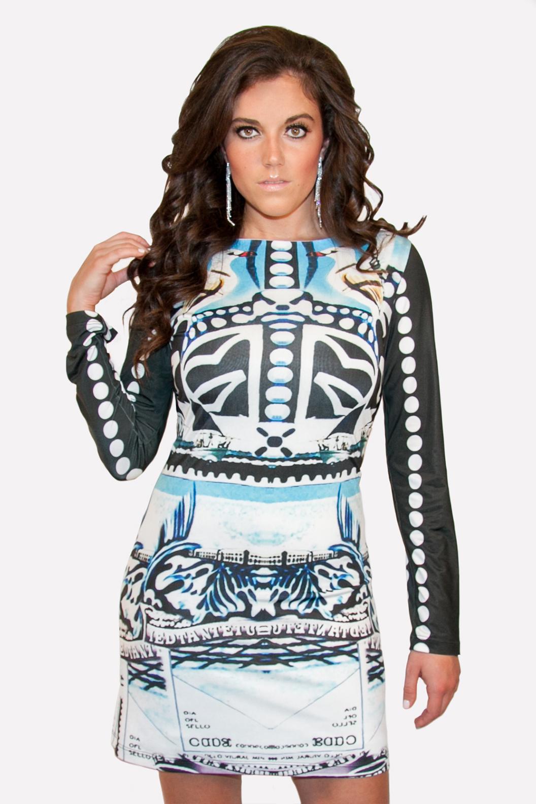 Retro pattern stretch dress by LaPateau