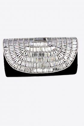 Black clutch, Black evening bag, Black & Silver clutch, black and silver evening bag