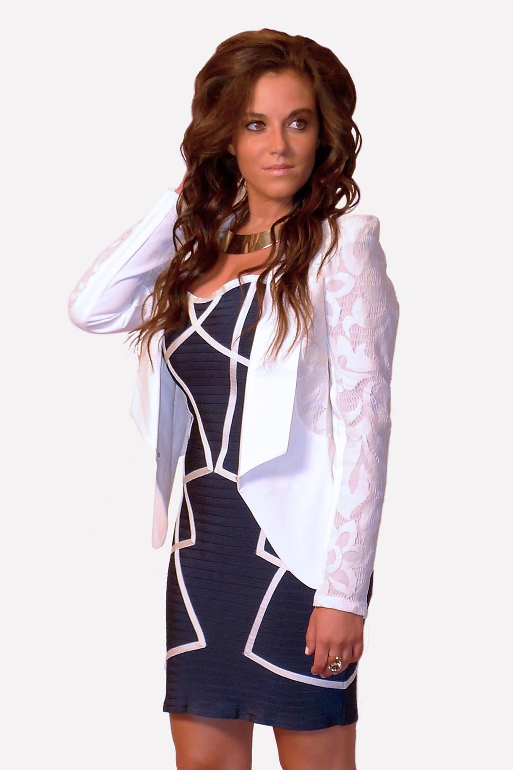 Wow Couture, Bandage Dress Blue w Ivory Trim
